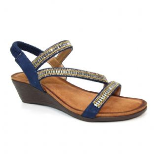 Lunar Womens Sofia Cross Strap Blue Sandal